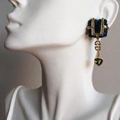 kyanite and black diamond statement earrings by Tessa Packard