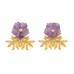 Tea House Earrings in purple