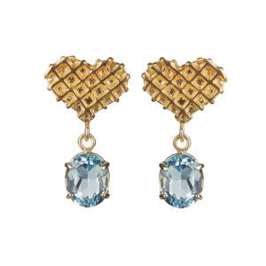 Sweet heart earrings in blue