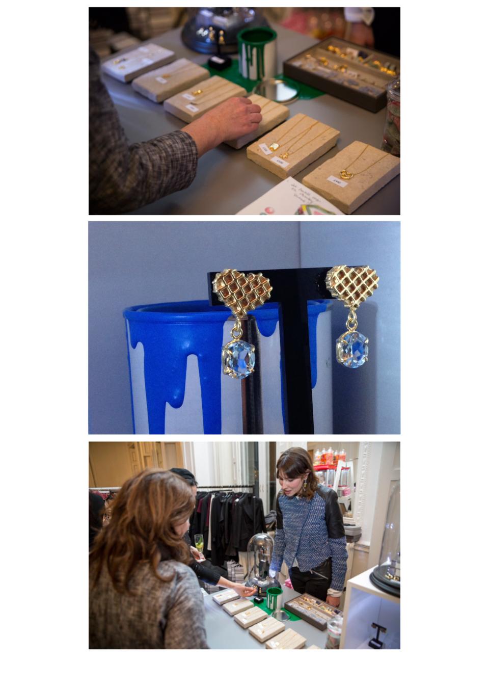 Gold waffle heart and large aquamarine drop earrings bye Tessa Packard London Contemporary fine Jewellery