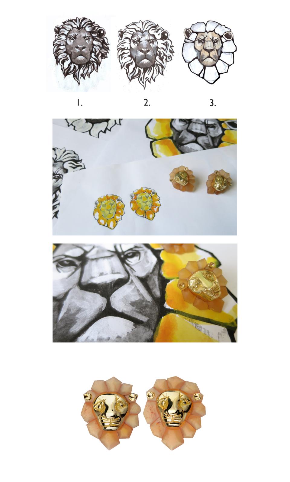 Bespoke gold and grapefruit quartz lion head earrings by Tessa Packard London Contemporary Fine Jewellery