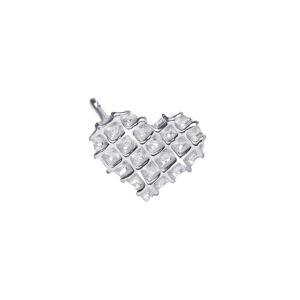 Waffle Heart Charm in Silver