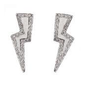 DIAMOND BOLT SILVER EARRING