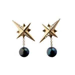 Diamond Northbound Earrings in black