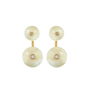 Long Orbit Earrings in white