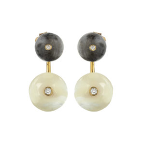 Long Orbit Earrings in Lunar