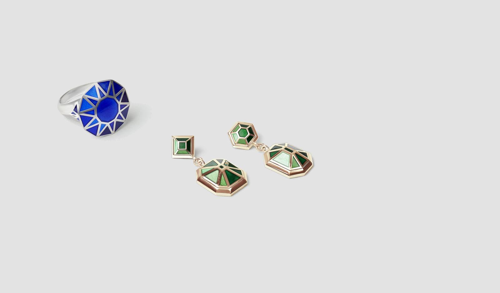 Enamel Rings and Enamel Earrings by Tessa Packard London