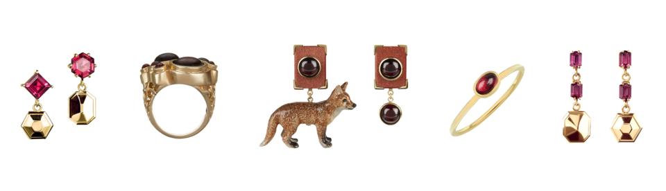 garnet earrings, garnet cocktail ring, garnet fox earrings, garnet stacking ring, garnet drop earrings