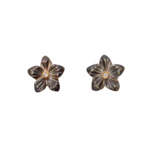 Teeny-Tiny Flower Earrings in Smoke