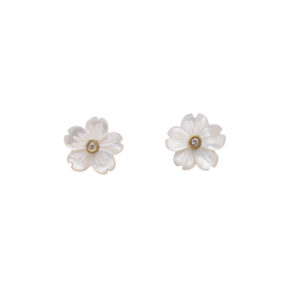 Teeny-Tiny Flower Earrings in White