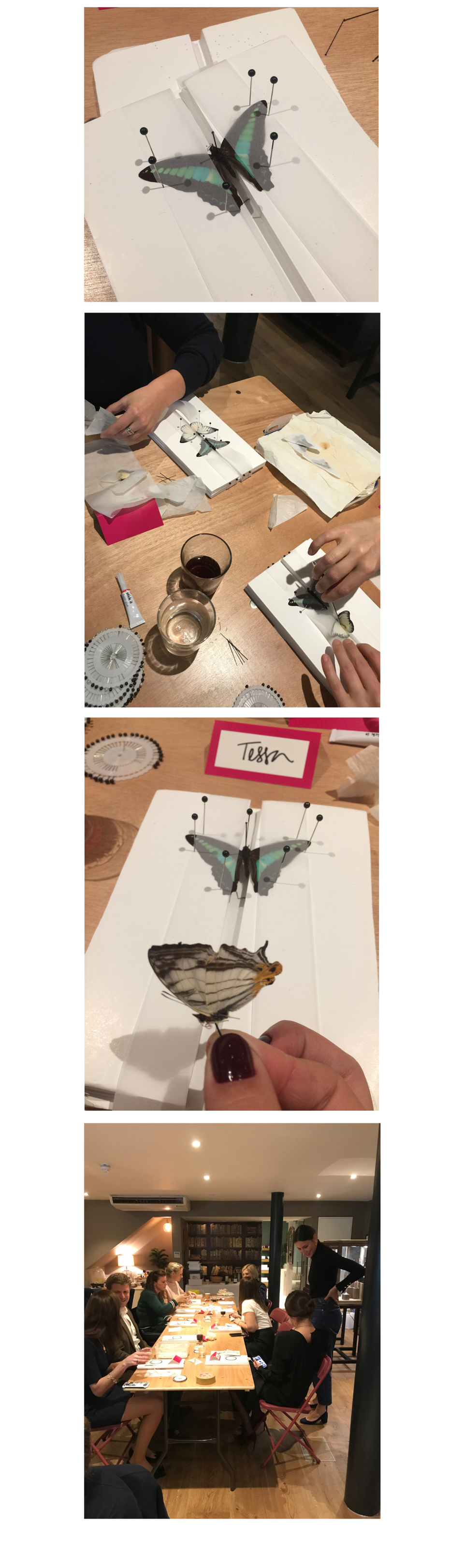 Butterfly Decoupage workshop at Tessa Packard London Contemporary Fine Jewellery Showroom Kensington