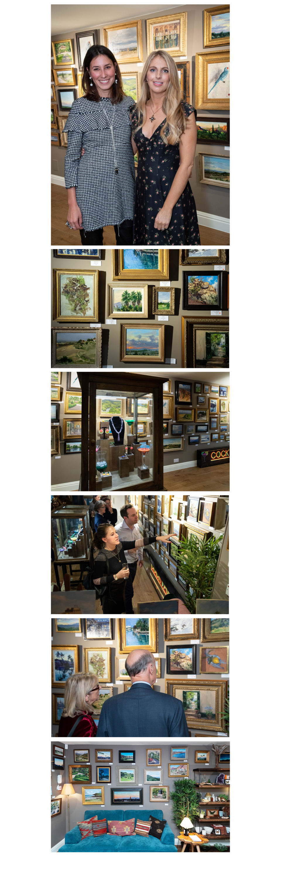 Phoebe dickinson paintings displayed at Tessa Packard London Contemporary fine Jewellery showroom in Kensington