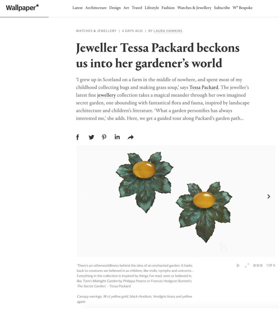 Tessa Packard Canopy Earrings featured in Wallpaper magazine (April 2019)