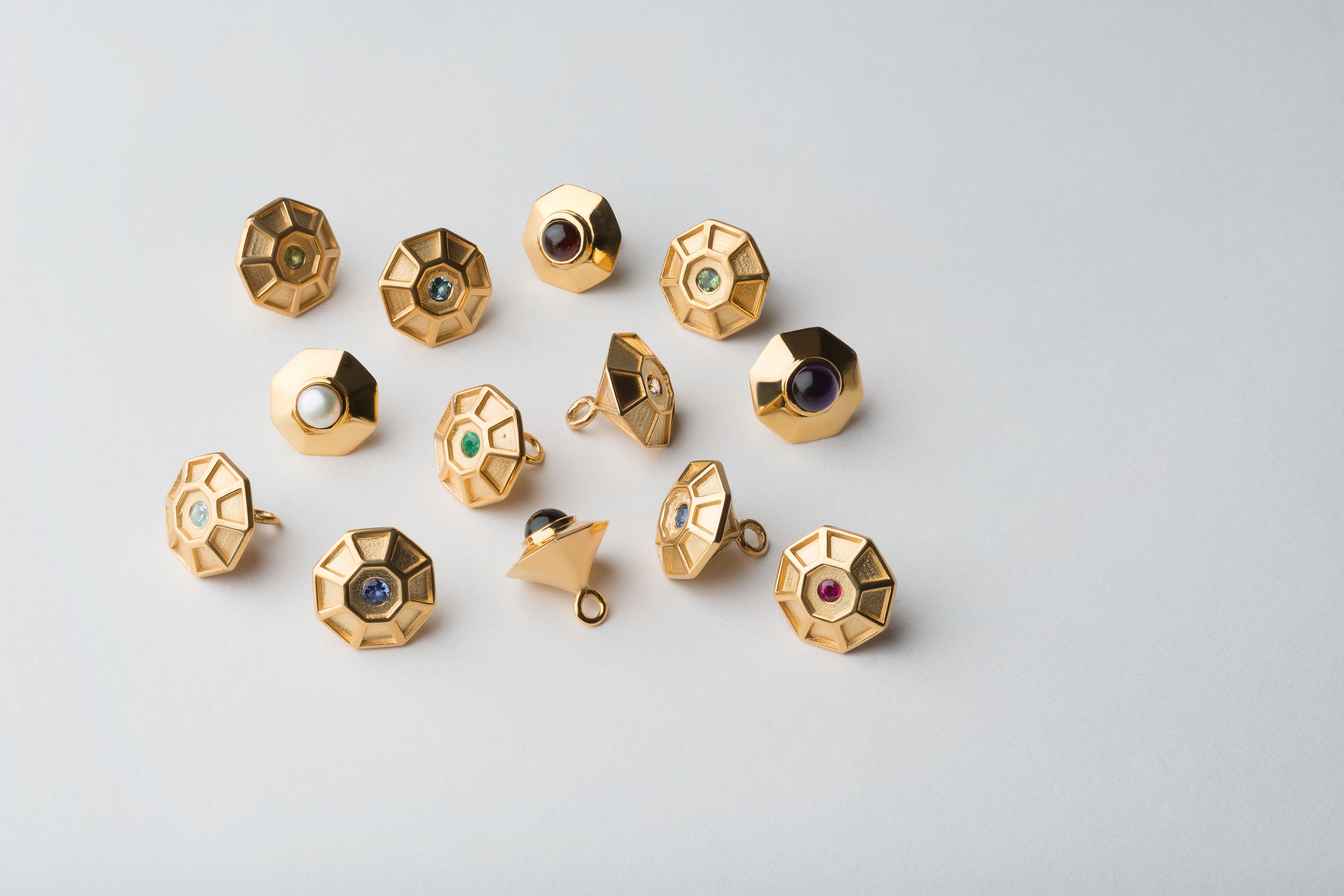 18ct Yellow Gold Vermeil, Sterling Silver Birthstone Pendants by Tessa Packard London Contemporary fine Jewellery