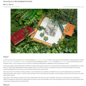 Somewhere in the Enchanted Garden Events Series by Tessa Packard London Contemporary Fine Jewellery Featured in Country and Town House May 2019 Issue