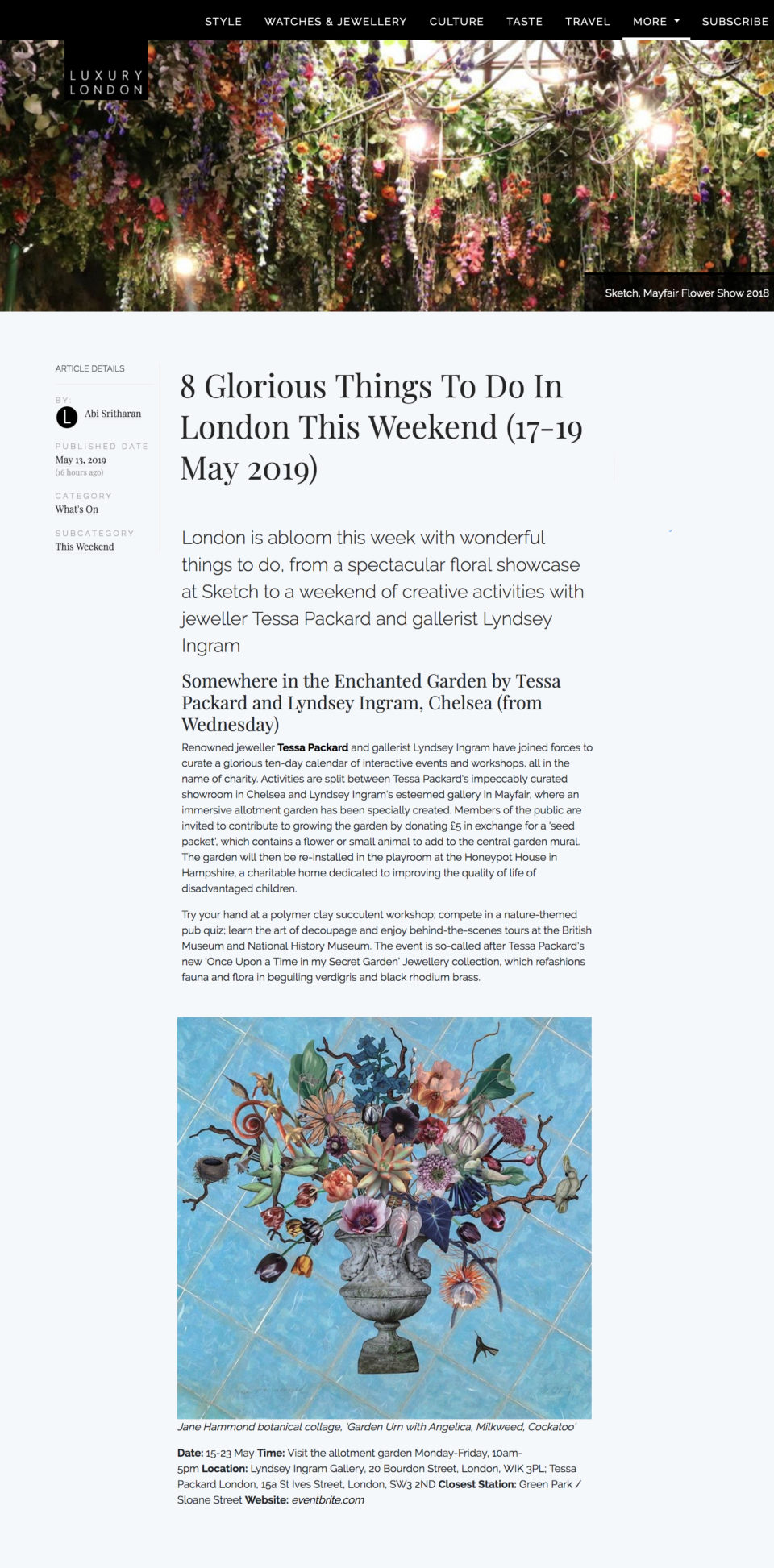 Somewhere in the Enchanted Garden Events Series by Tessa Packard London Contemporary Fine Jewellery Featured in Luxury London May 2019 Issue