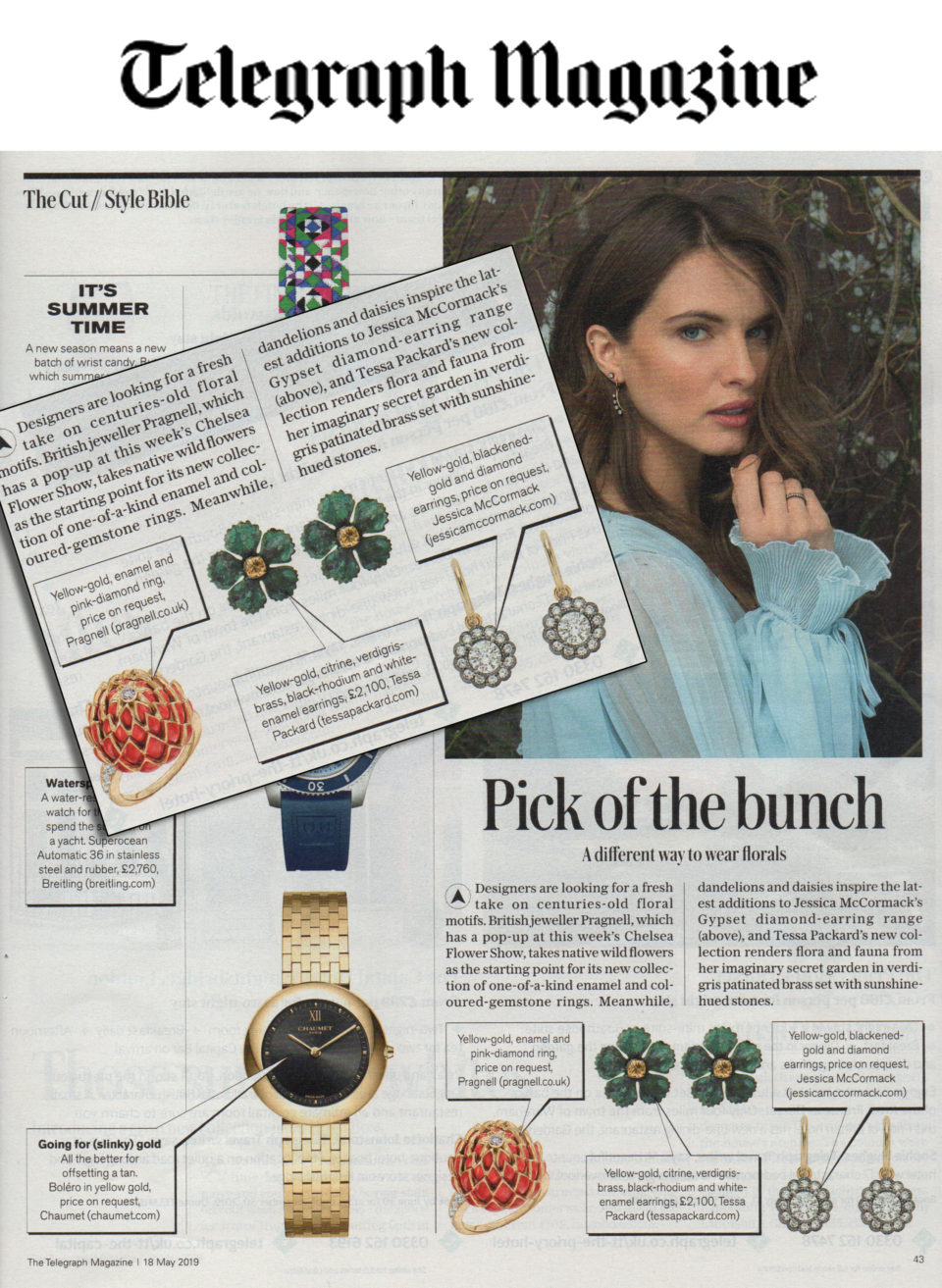 18 ct Yellow Gold Rhodium, Verdigris Brass and Citrine Earrings by Tessa Packard London Contemporary fine Jewellery featured in Telegraph Magazine May 2019 Issue