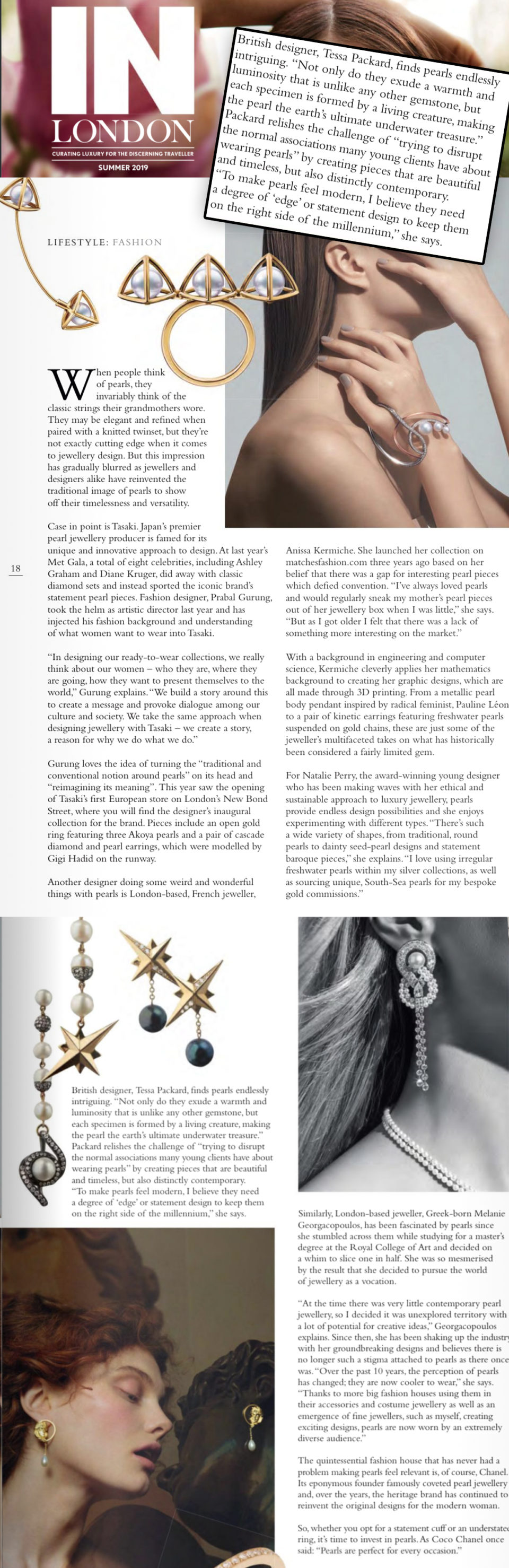 In London Magazine June 2019 Issue featuring 18ct Yellow Gold and Sterling Silver Voyager Earrings by Tessa Packard London Contemporary Fine Jewellery