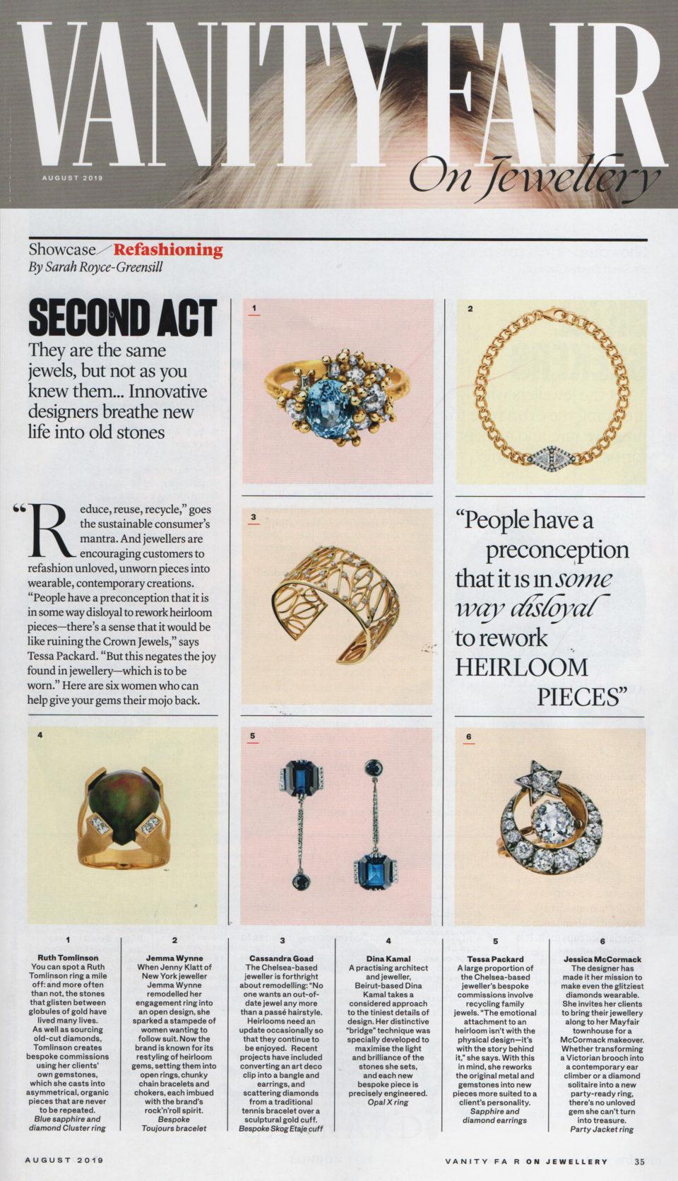 Vanity Fair July 2019 featuring Tessa Packard Bespoke Sapphire Earrings by Tessa Packard London Contemporary Fine Jewellery