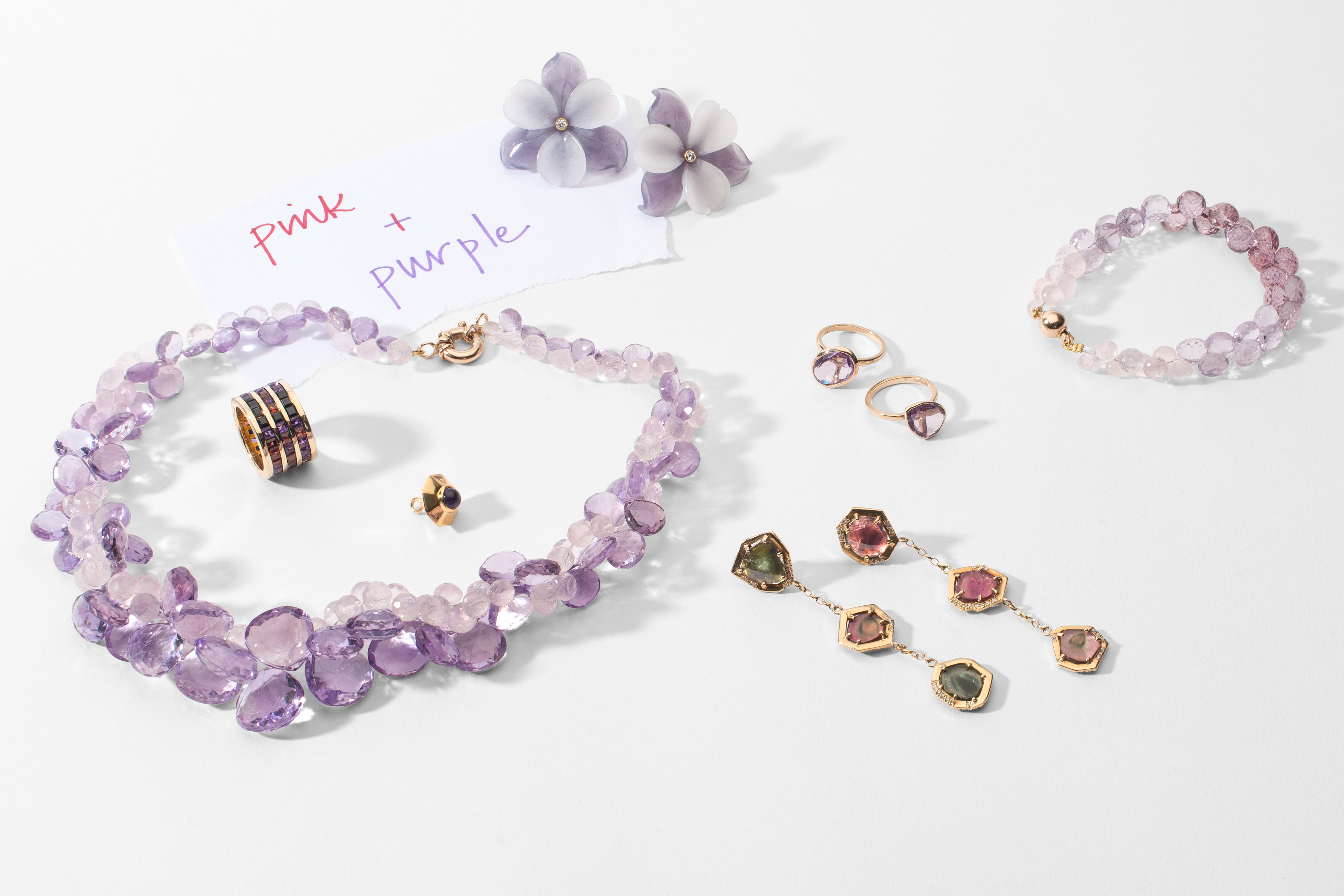Pink and Purple Necklace, rings, earrings, and bracelets by Tessa Packard London Contemporary Fine Jewellery