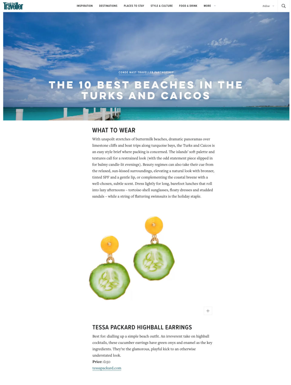 Conde Nast Traveller What to Wear featuring Tessa Packard cucumber earrings
