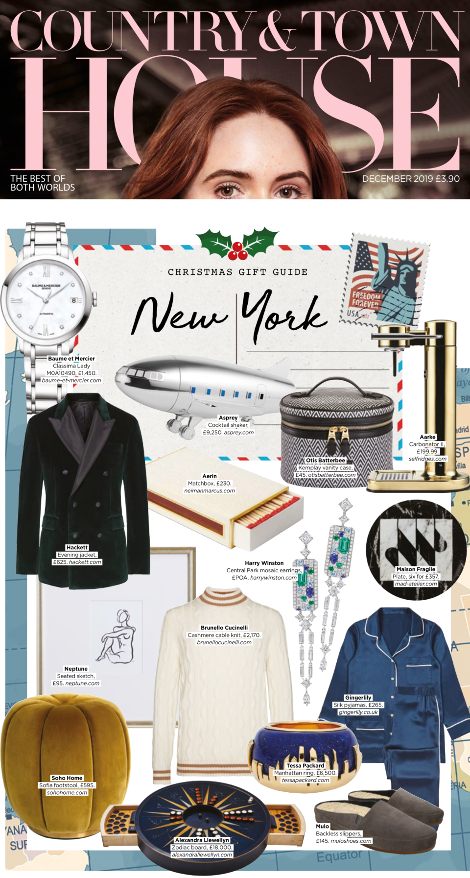 Country and Town House Magazine Christmas Gift Guide featuring Tessa Packard London Contemporary Fine Jewellery gold and lapis lazuli cocktail ring