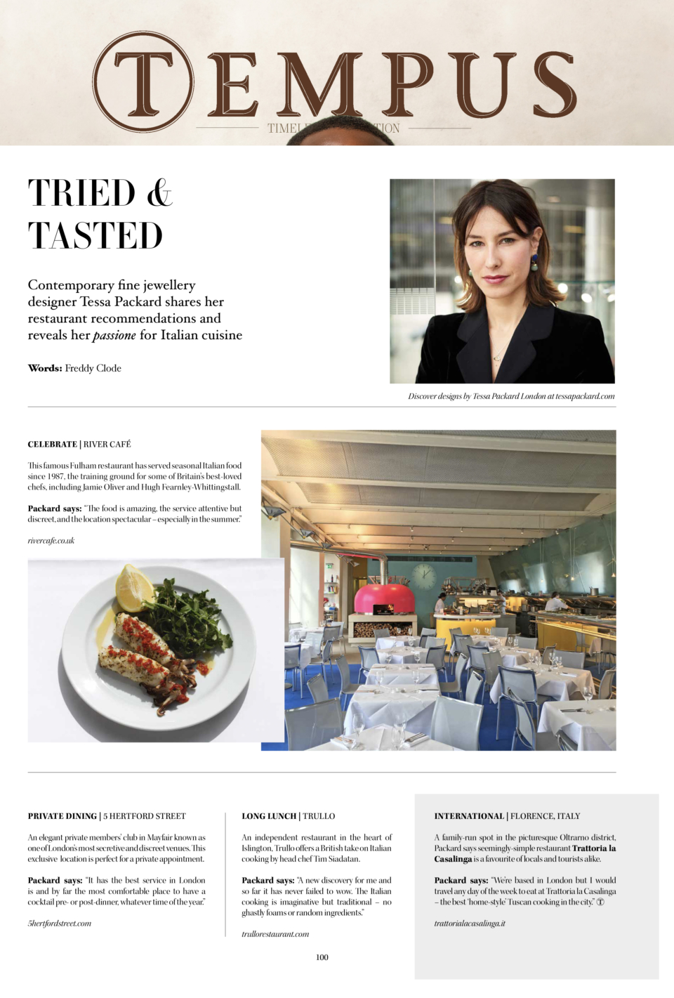 London Restaurant Recommendations from Tessa Packard