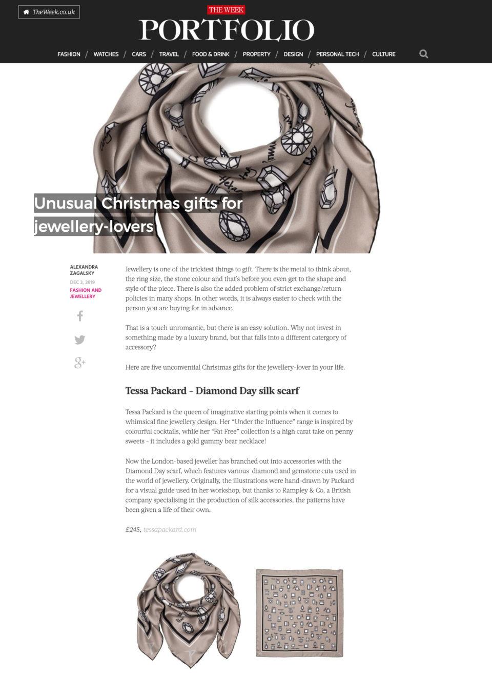 Grey silk Scarf by Tessa Packard London Contemporary Fine Jewellery