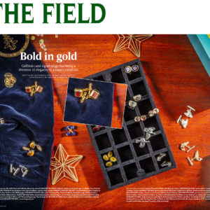 The Field Magazine featuring Tessa Packard London Contemporary fine Jewellery Red enamel and gold cufflinks