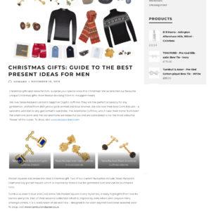 Jermyn Street Journal Christmas gifts for men featuring Tessa Packard London gold and blue enamel cufflinks, iced gem cufflinks, black onyx and gold cufflinks, diamond day grey silk pocket square.