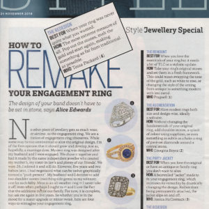 The Sunday times Style section how to remake your engagement ring featuring Tessa Packard London Contemporary fine Jewellery