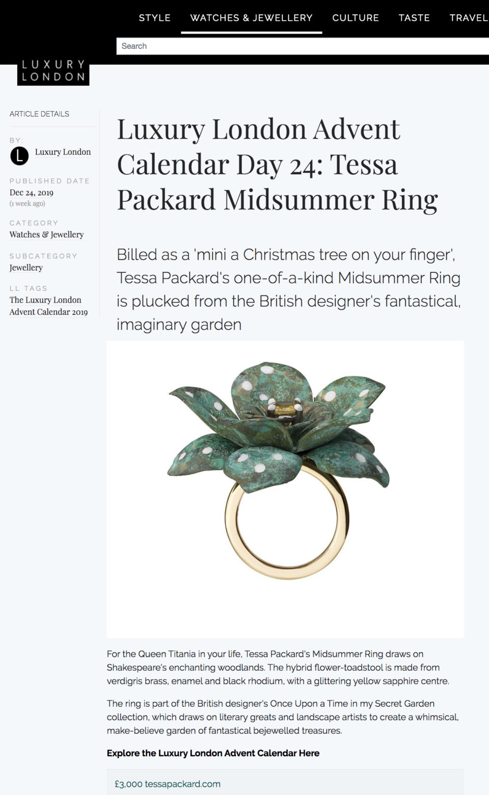 Verdigris brass, black rhodium, yellow gold with yellow sapphire centre flower ring by Tessa Packard London Contemporary Fine Jewellery