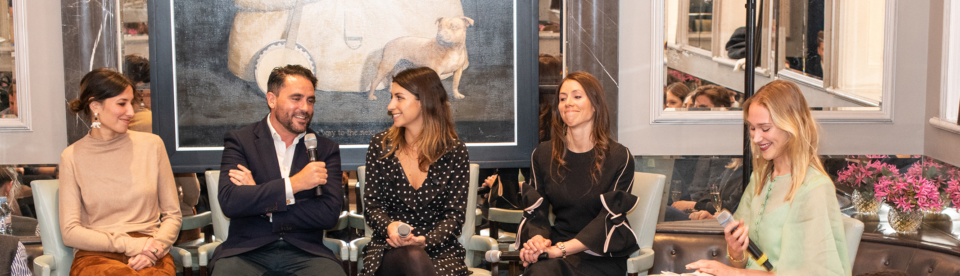 Tessa Packard, Levinson Wood, Angelica Malin of About Time Magazine and event planner Alexandra Pisani, speak at the Corinthia, with Roz Wikeley moderating