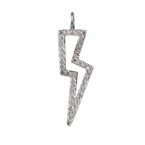 Diamond Bolt Charm in Silver