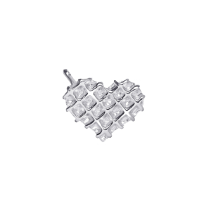 Waffle Heart Charm in Silver