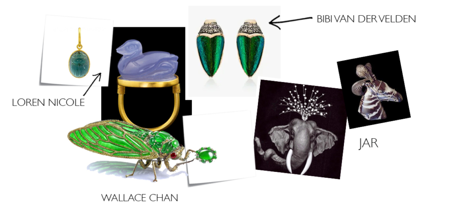 animal jewellery from the 21st century. duck ring, dragonfly brooch, elephant pin