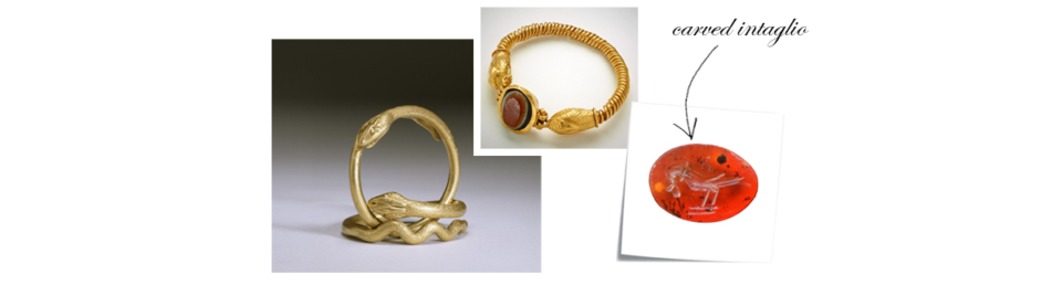 Gold serpent jewellery from Ancient Rome