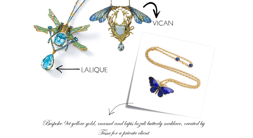 art nouveau butterfly jewellery