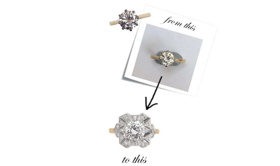 bespoke diamond engagement ring using family diamond
