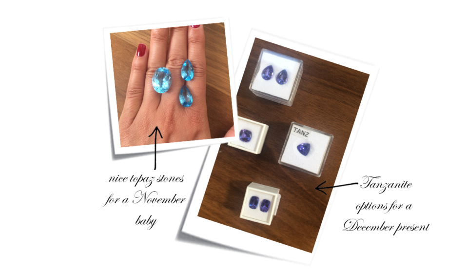 Large tanzanite and aquamarine gem stones