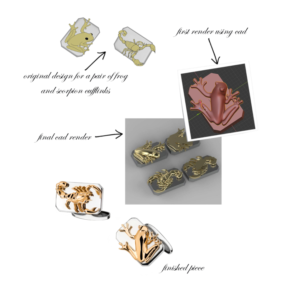 bespoke frog and scorpion cufflinks