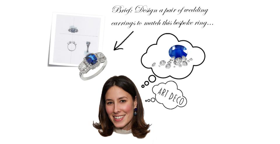 bespoke sapphire and diamond earrings based on sapphire and diamond engagement ring