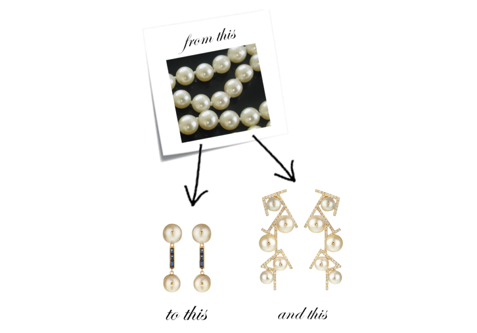 bespoke pearl and diamond earrings using an old family pearl necklace