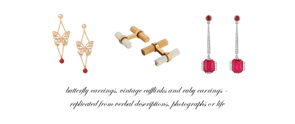 bespoke ruby earrings and bespoke gold and silver cufflinks