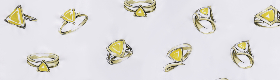 sketch of bespoke yellow sapphire cocktail ring