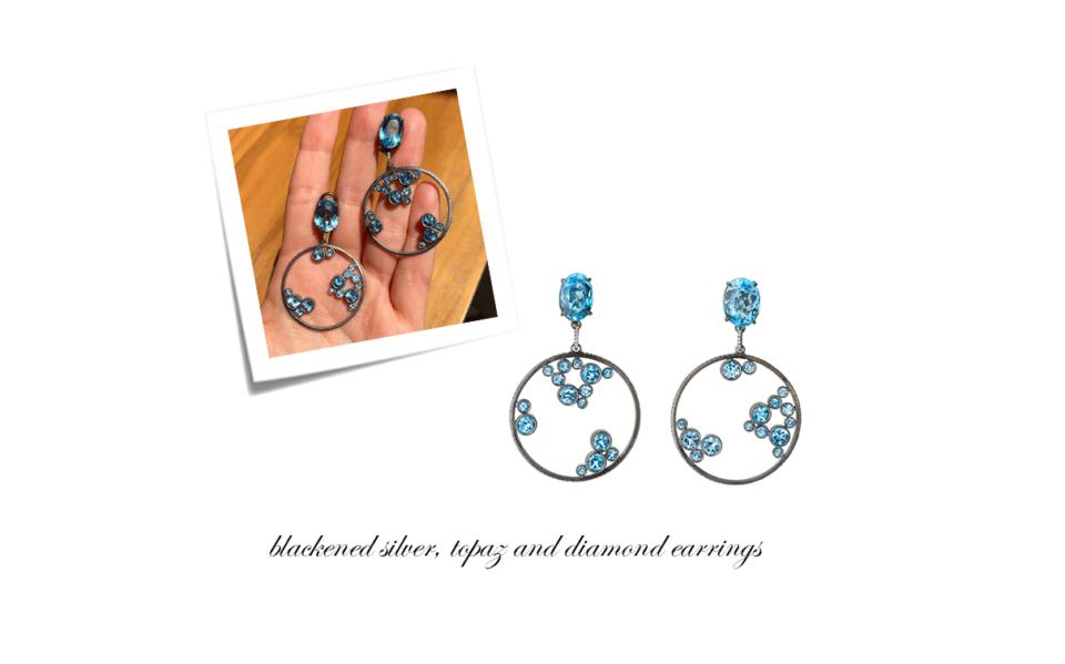 bespoke diamond and topaz statement earrings