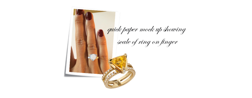 bespoke yellow sapphire ring paper mock up