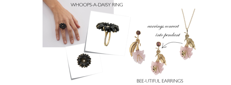 carved black onyx flower ring, hand carved rose quartz flower earrings with gold bee on the petal