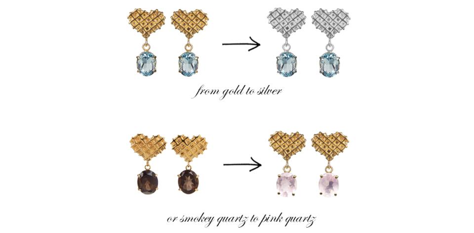 multiple heart earrings