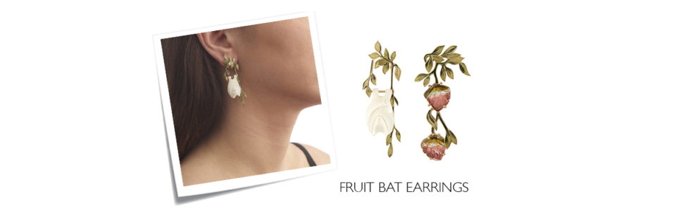 watermelon tourmaline and enamel bat earrings